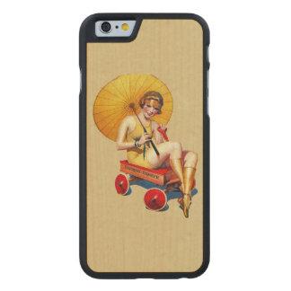 Vintage 1920's Flapper Lady Umbrella Wagon Bathing Carved® Maple iPhone 6 Slim Case
