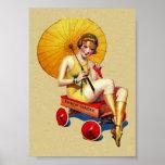 Vintage 1920's Flapper Lady Umbrella Wagon Bathing Print