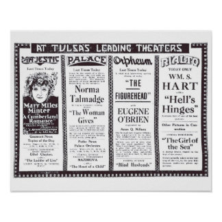 Vintage 1920 silent movie ads Poster