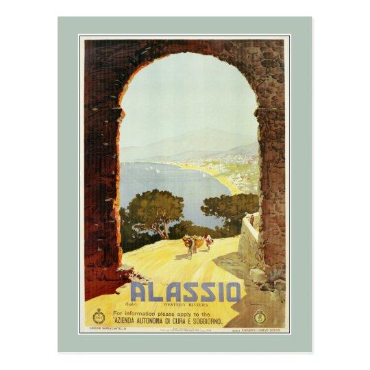 Vintage 1920s Alassio Italian travel poster Postcard