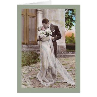 Vintage 1920s Art Deco Bride and Groom Photo Card
