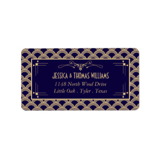 Vintage 1920's Art Deco Gatsby Wedding Collection Address Label