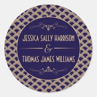 Vintage 1920's Art Deco Gatsby Wedding Collection Classic Round Sticker