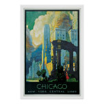 Vintage 1920s Chicago city travel ad Poster