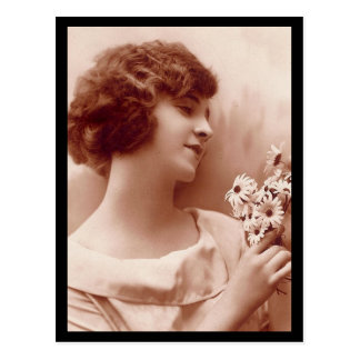 Vintage 1920s Girl with Flowers Photo Postcard