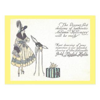 Vintage 1920s Hat Millinery Show Advertisement Postcard