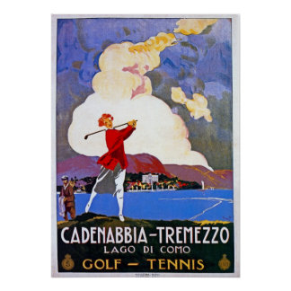 Vintage 1920s Lake Como Golf Italian travel advert Poster