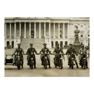 Vintage 1920s Motorcycle Cops Poster