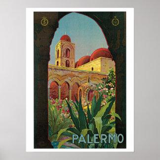 Vintage 1920s Palermo Sicily travel Poster