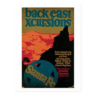 Vintage 1920s Santa Fe travel ad Postcard
