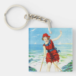 Vintage 1920s Wakeboarder Single-Sided Square Acrylic Key Ring