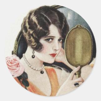Vintage 1920s Woman Classic Round Sticker
