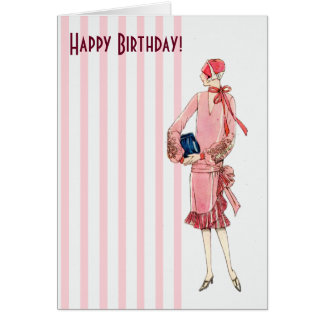 Vintage 1920s Woman in Pink Dress Happy Birthday Card