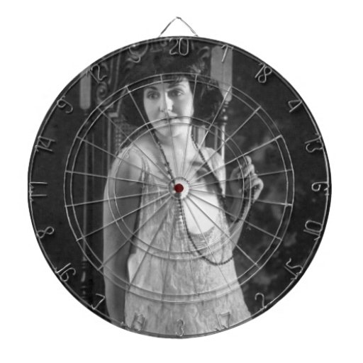 Vintage 1920s Women's Flapper Fashion Dartboard With Darts