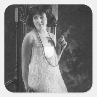 Vintage 1920s Women's Flapper Fashion Square Sticker