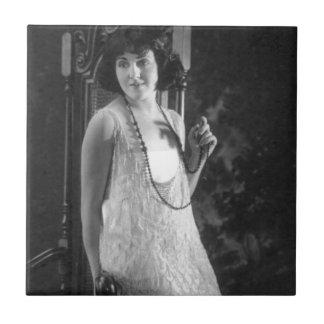 Vintage 1920s Women's Flapper Fashion Small Square Tile