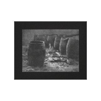 Vintage 1922 Photograph Black and White Empties Canvas Print