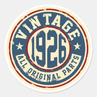 Vintage 1926 All Original Parts Round Sticker