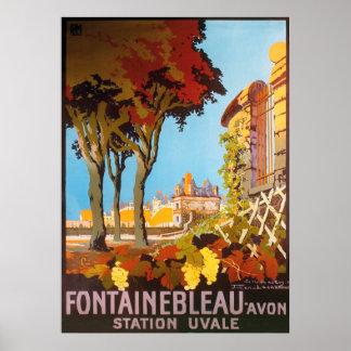 Vintage 1926 Fontainbleau Avon, Station Uvale Poster