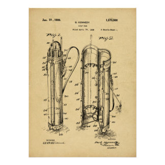Vintage 1926 Golf Bag Patent - Archival Print