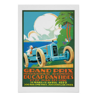 Vintage 1929 Grand Prix Auto Racing French Ad Poster