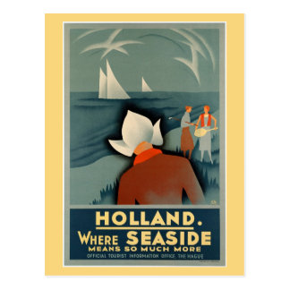 Vintage 1930 Holland seaside travel Postcard