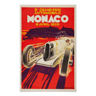 Vintage 1930 Monaco Grand Prix Poster