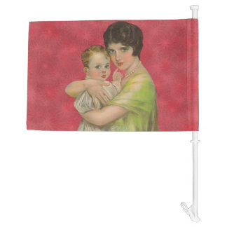 Vintage 1930's Mother Holding Baby Mother's Day Car Flag