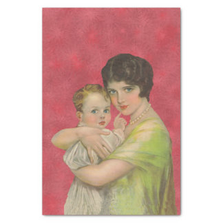 """Vintage 1930's Mother Holding Baby Mother's Day 10"""" X 15"""" Tissue Paper"""