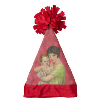 Vintage 1930's Mother Holding Baby Mother's Day Santa Hat