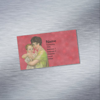 Vintage 1930's Mother Holding Baby Mother's Day Magnetic Business Cards
