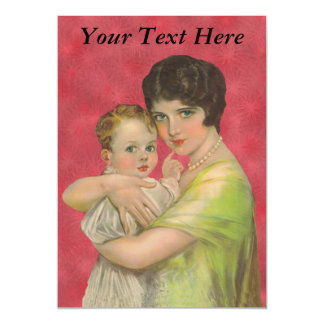 Vintage 1930's Mother Holding Baby Mother's Day Magnetic Invitations
