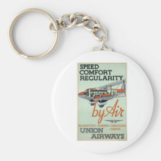 Vintage 1930s Airline Basic Round Button Key Ring