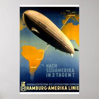 Vintage - 1930's Graf Zeppelin Travel Poster
