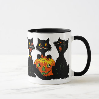 Vintage 1930s Halloween Black Cats Mug