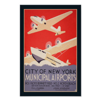 Vintage 1930's New York Air Travel Poster