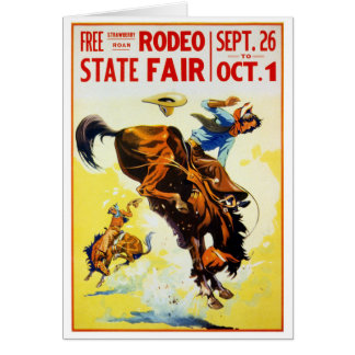 Vintage 1930s Rodeo Poster Restored Card
