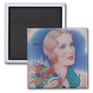 Vintage 1931 Style Square Magnet