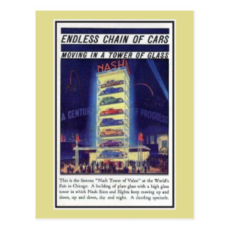 Vintage 1933 Chicago Expo Nash car tower of glass Postcard