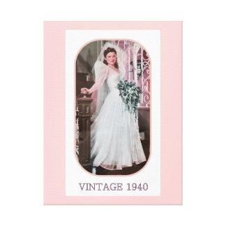 Vintage 1940 Bride Staircase Veil Flower Bouquet Stretched Canvas Prints