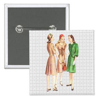 Vintage 1940s Fashion V2 15 Cm Square Badge