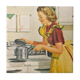 Vintage 1940s Housewife Cooking Tile