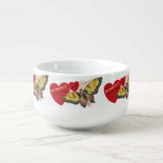 Vintage 1940's Lady Butterfly Fairy Valentines Soup Mug
