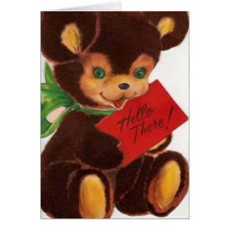 Vintage 1940s Well Hello There Teddy Bear Card