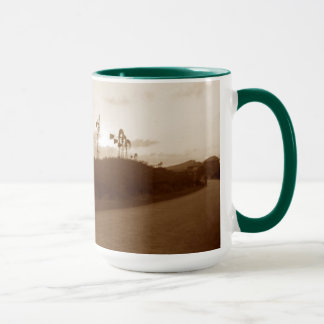 Vintage 1940's Windmill Farm w/ CAR Fender Photo Mug