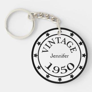 Vintage 1950 birthday year stars custom girls name acrylic key chain