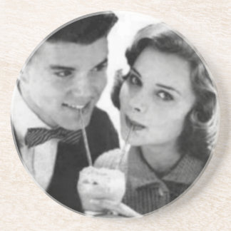 VINTAGE 1950 MALT SHOPPE PHOTO Coaster