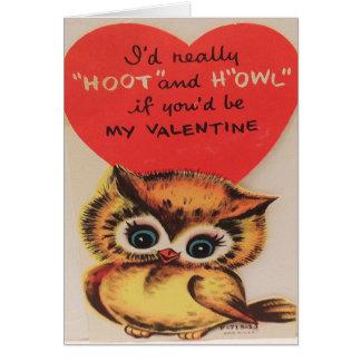 Vintage (1950) Owl Valentine''s Day Card