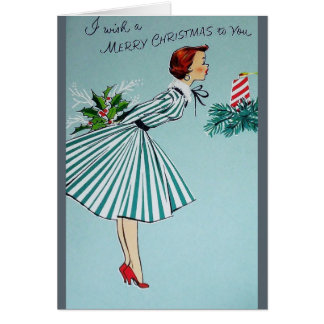 Vintage 1950's Housewife Christmas Card