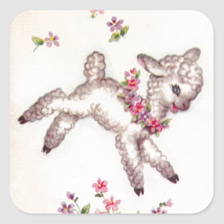 Vintage 1950s Lamb Square Sticker